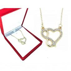 Altın Kaplama Kalp Sonsuzluk Kolye - Sevgililer Günü Hediyesi PS0382