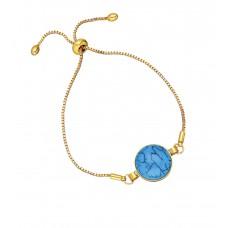 Altın Kaplama Bayan Asansörlü Mavi Bileklik PS0571