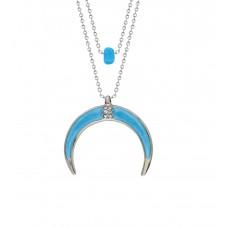 Altın Kaplama Bayan Tasarım Mavi Hilal Boncuklu Kolye PS0592