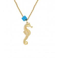 Altın Kaplama Bayan Mavi Boncuklu Denizatı Kolye PS0607