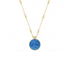Altın Kaplama Bayan Takı Seti Mavi Taşlı Kolye PS0610