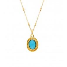 Altın Kaplama Bayan Mavi Taşlı Tasarım Kolye PS0617