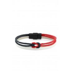 Erkek Örgülü Kırmızı Lacivert Halat Bileklik PS0834