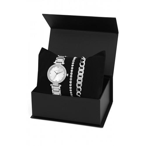 Forentina Beyaz Taşlı Kombin Saat Seti Hediye Set PS1094