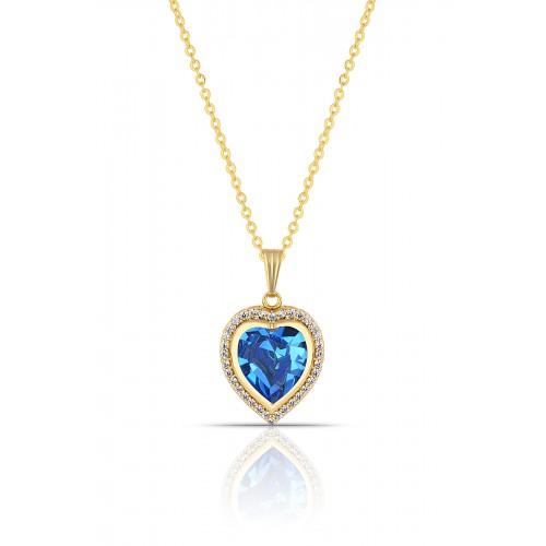 Forentina Altın Kaplama Mavi Kalp Kristal Kolye PS1118