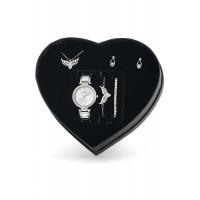 Gümüş Kaplama Kalpli Melek Kanadı Hediye Set PS1164