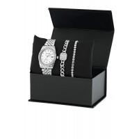 Gümüş Kaplama Bayan Saat Kombin Bileklik Set PS1349