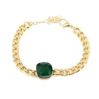 Forentina Altın Kaplama Yeşil Taşlı Bileklik PS1395