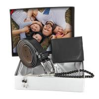 Forentina Kişiye Özel Fotoğraflı Siyah Kemer Cüzdan Tesbih Set PS1402